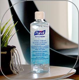 Bote de gel hidroalcohólico de alta calidad de la marca Purell