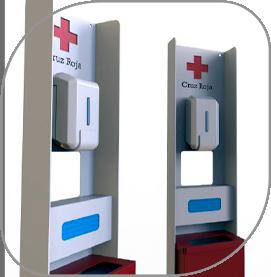 Dispensadores personalizados de gel, guantes y con papelera para Cruz Roja
